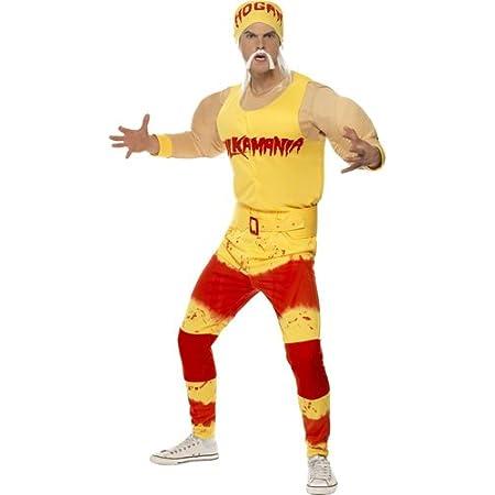 Hulk Hogan Wrestler Blonde Wig /& Bandana 1980/'s Fancy Dress Accessory Red