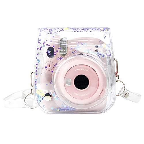 Funda protectora transparente para cámara Fujifilm Instax Mini 11, Mini 8, Mini 8+, Mini 9 Instant Camera Bag Protector de la funda con correa ajustable para el hombro (morado)