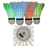 MOVKZACV Volantes de bádminton LED, noche oscura, colorido ganso LED plumaje resplandor Birdies Iluminación para actividades al aire libre de deportes en interiores