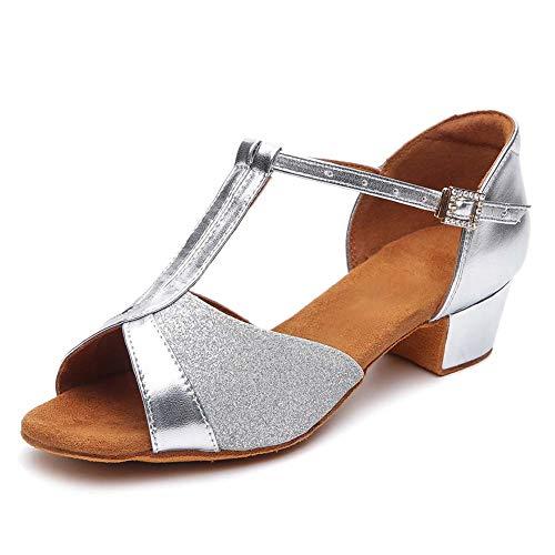 HIPPOSEUS niña Zapatos de Baile Latino, Dedos Abiertos, tacón Bloque 3.5 CM,ES305,Plateado,EU 37