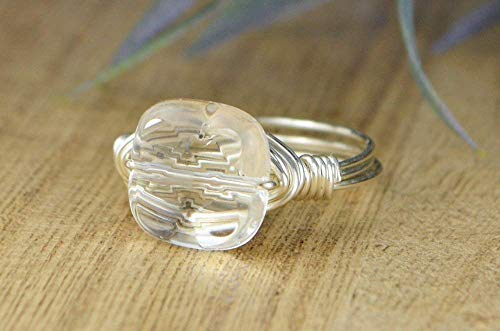Faceted Clear Quartz Square Gemstone Bead in Sterling Silver or 14kt Yellow or Rose Gold Filled Wire Band- Handmade Wire Wrapped Ring- Made to size 4-14