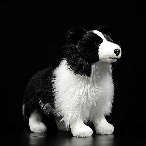 ZFCMIAO 25CM Dog Plush Toy W/Brown/Blue Eyes Alaskan Malamute Stuffed Animal Toys Christmas Gifts-20cm-25cm_Border Collie 25cm