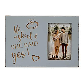 Wedding Engagement Gifts for Women Bride to Be - Lovers Engraved Picture Frame 4x6 Inches - He Asked and She Said Yes