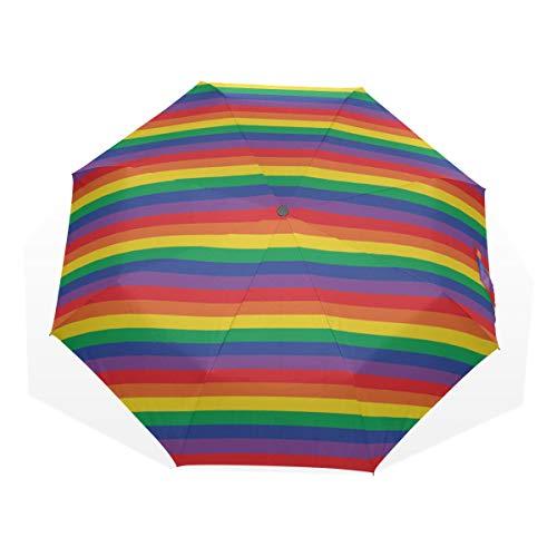 Regenschirm Regenbogen Horizontale Streifenmuster Anti Uv Kompakt 3 Falten Kunst Leichte Faltbare Regenschirme (Außendruck) Winddicht Regen Sonnenschutz Regenschirme Für Frauen Mädchen Kinder