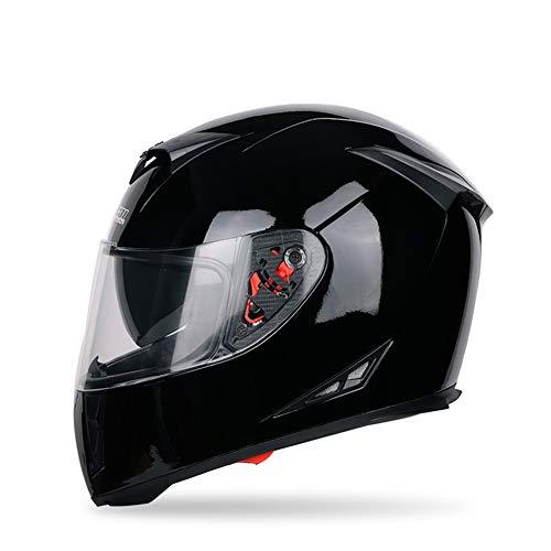 SSYWX Casco Integral De Moto, Casco De Moto Scooter Para Hombre/Mujer, Casco Abatible, Lente Doble Con Visera, Certificación DOT, M-XXL (57-64) (Black,XL)