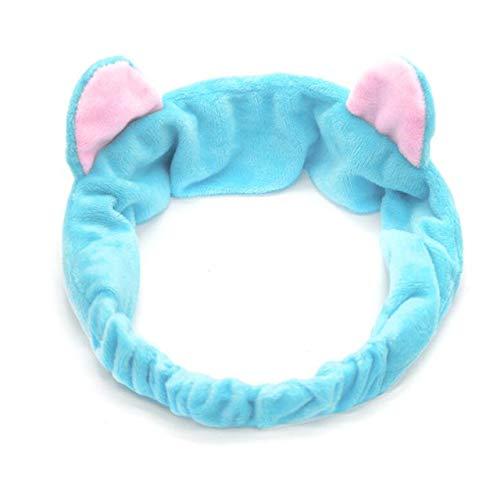 8 PcsBig Rabbit Ear Coral Fleece Head Band Soft Elastic Hair Ribbon SPA Bath Shower Make Up Wash Face Headband Hair Band Headwear ear blue