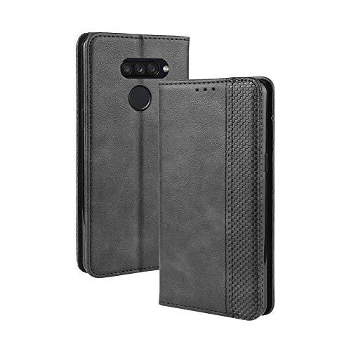 LAGUI Kompatible für LG K50S Hülle, Leder Flip Hülle Schutzhülle für Handy mit Kartenfach Stand & Magnet Funktion als Brieftasche, schwarz