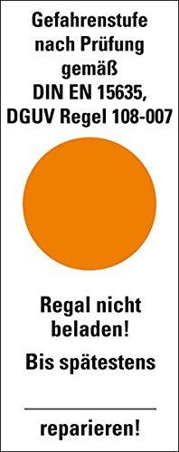 LEMAX® Hinweisschild Gefahrenstufe orange,DGUV Regel 108-00F7,Folie,40x101,6mm,5/Bogen