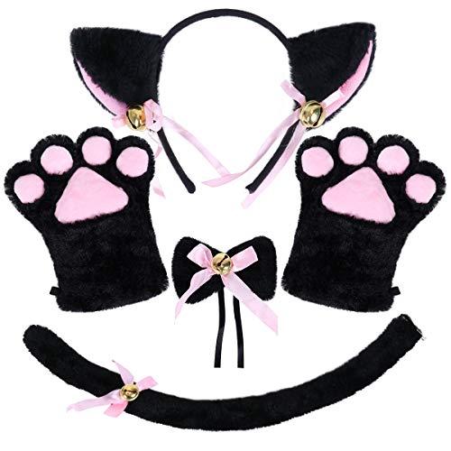 NEOLA Katze Cosplay Set Katze Ohren Katzenschwanz Plüsch Klaue Handschuhe Glocke Lolita Anime Fancy Dress Party Halloween Kätzchen Kostüm für Kinder und Erwachsene (Schwarz)