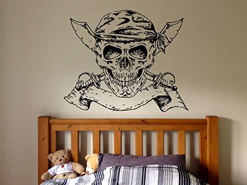 Adhesivo de pared para dormitorio, diseño de barco pirata, daga de dibujos animados para niños y niñas y adolescentes