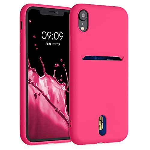 kwmobile Cover Compatibile con Apple iPhone XR - in Silicone Morbido - Custodia con Scomparto Porta Carte Biglietti - Back Case Rosa Shocking Matt