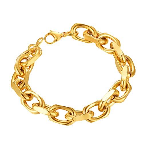 ChainsPro Pulsera Cadena Dudadera de Rolo Acero Inoxidable 11mm 19cm Longitud Oro...