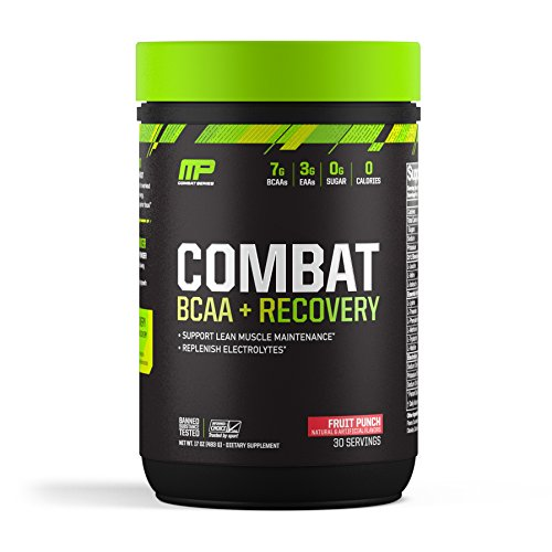 MusclePharm Combat BCAA + Recovery Powder, 10g of Branched-Chain Amino Acids and Essential Amino Acids, Fruit Punch, 30 Servings