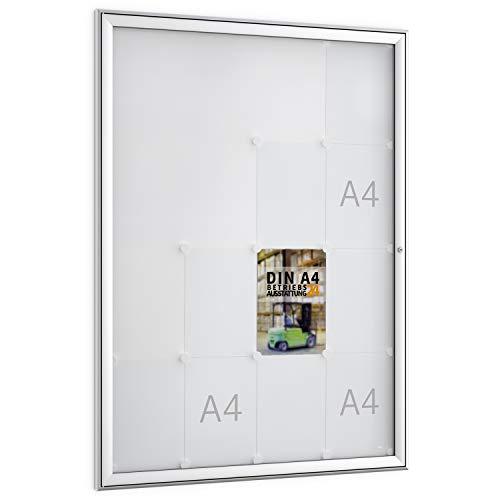 Betriebsausstattung24® Schaukästen für Innen- & Außenbereiche | Aushängekasten mit magnetischer Rückwand | BxH 93,0 x 127,5 cm |(FSK16 (16x DIN A4))