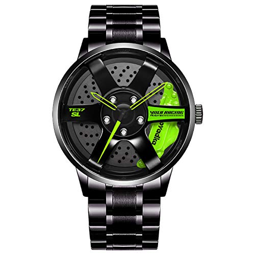Men's Sports Chronograph Stainless Steel Quartz Quartz Watch Watches with Car Wheel Rim Hub Design Green
