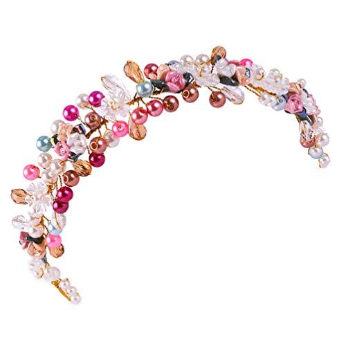 Lurrose Diadema de Perlas Coloridas para El Pelo de La Boda con Cuentas para El Cabello Accesorios para El Tocado de La Muchacha de La Flor para Mujeres Y Damas