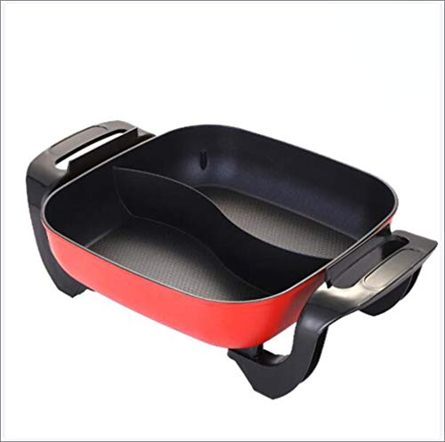 Portable Electric Hot Pot 2 Grid 2 Taste, Large Capacity Household Multifunctionele Non-Stick Pan Cooker met 5 temperatuurinstellingen