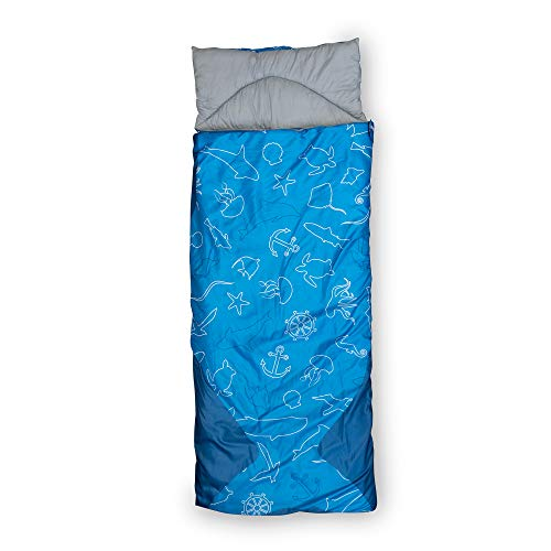 outdoorer Kinderschlafsack Dream Sailor Baby Kind & Meer Edition: Kinderschlafsack mit Kissen und Rucksackfunktion