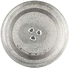 Plato de cristal universal resistente y duradero para microondas, soporte triangular aplicable (245 mm, plano)