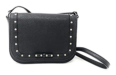 Kate Spade New York Large Carsen Laurel Way Jeweled Leather Crossbody bag in Black