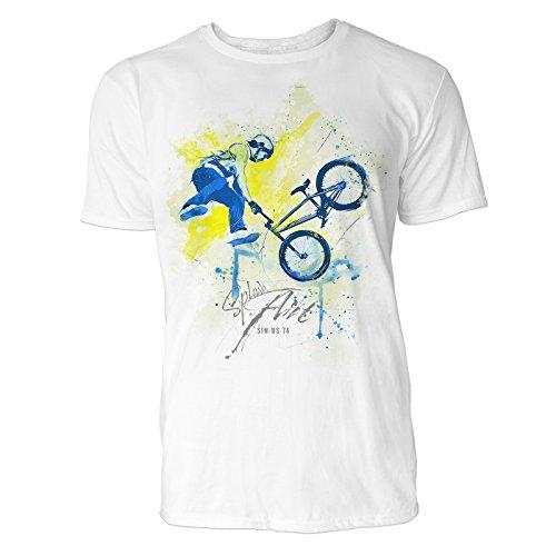 BMX Rad X-up Sinus Art heren T-shirt (wit) Crewneck Tee met frontartwork