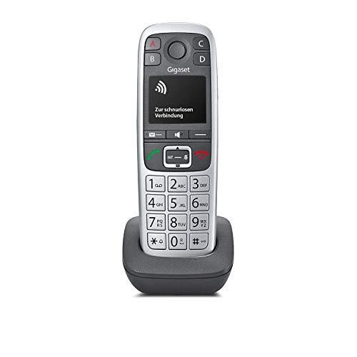 Gigaset E560HX Universal-Mobilteil - IP-Telefon (zum Anschluss an Ihre Basisstation oder Router – mit großen Tasten und 4 extra SOS-Notruf Tasten) platin