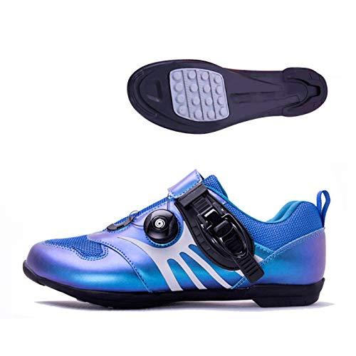 KUXUAN Calzado De Ciclismo para Hombre,Calzado De Ciclismo Sin Candado/Calzado Deportivo De Montaña Y Carretera/Suela De Goma,Blue-39EU