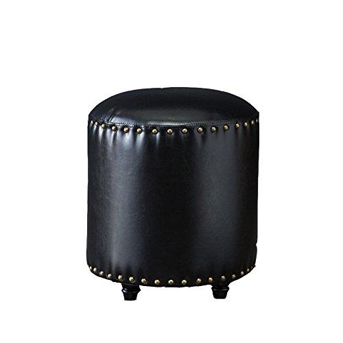 Tabouret de canapé de style européen, bois massif pour tabouret de chaussure, portant un tabouret de chaussure, petit tabouret, tabouret en cuir artificiel, jetée ronde, repose-pieds de salon ( Couleur : Noir )