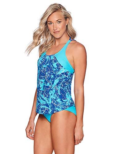 Reebok Lifestyle Women's Swimwear Marble Abstraction Tankini Bathing Suit Top, Cobalt, Large