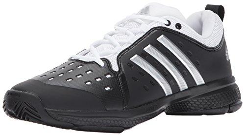 adidas Men's Barricade Classic Bounce Tennis Shoe, core Black/Metallic Silver/White, 4 M US
