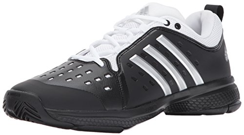 adidas Men's Barricade Classic Bounce Tennis Shoe, core Black/Metallic Silver/White, 5 M US
