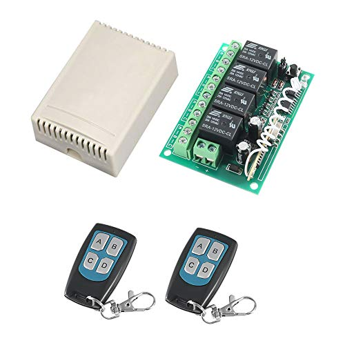 315Mhz RF Switch Long Range DC 12V 4-Channel Wireless Remote Control Switch MELIFE 2 Transmitter & 1 Receiver for Garage Door Openers, Cars, LED Lights & More