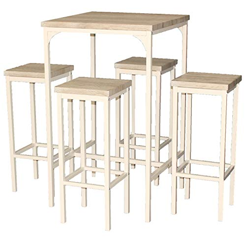 YELLOO Mod. RIMINI Set tafel bar vierkant en 4 barkrukken Beige Table H.110 cm Living Design 110cm High Square Bar Table with 4 Stools Beige Design Living