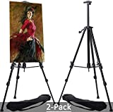 MEEDEN 2-Pack Studio Aluminum Metal Tripod Travel Easel with Bag, Table-Top/Floor Dual-Purpose, Perfect for Painters Students, Landscape Artists, Hold Canvas Art up to 32'