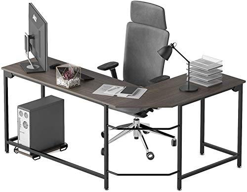 Escritorio de oficina esquinero para videojuegos, escritorio en forma de L, estación de trabajo para hogar, oficina, estudio, madera y metal (roble negro)