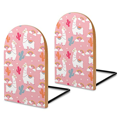 2 pezzi reggilibri,tessuto con alpaca cammello e cactus rosa arcobaleno tronchi di legno reggilibri,supporti fermalibri antiscivolo,fermalibri per libri/film/CD/videogiochi