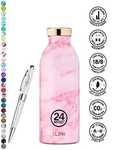 24 Bottles Trinkflasche Clima 330 ml | 500 ml | 850 ml versch. Farben inkl. Lieblingsmensch Kugelschreiber, Größe:500 ml, Farbe:Pink Marble