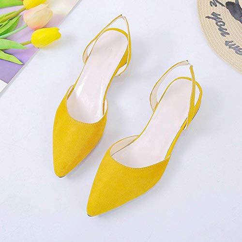 AKQITHJK Dames Bheemse sandalen, gele riem, platte pantoffels voor buiten, sandalen, voetring, riem, parels, Romeinse sandalen, mode lage helling, met damesschoenen, vierkante hak, 43
