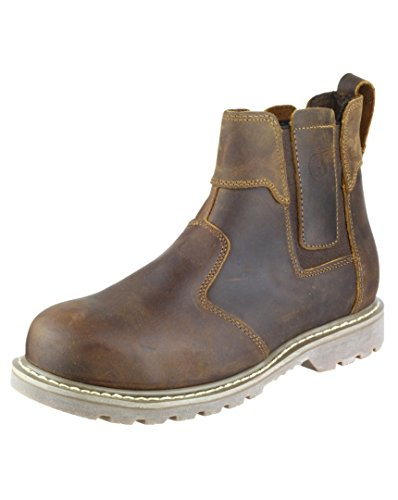 Amblers Steel Slip-On Textile Lined Mens Boots - Brown - Size 9