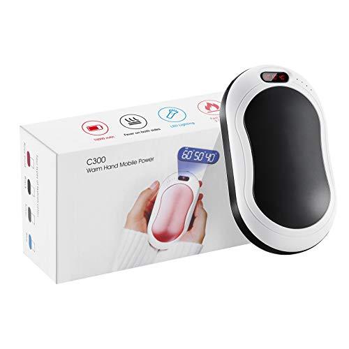 Calentador de manos recargable usb calentador de manos electrico portatil 10000mAh /power bank,Iluminación, masaje por vibración, pantalla digital, ajuste de temperatura de tres niveles 40-60 ℃