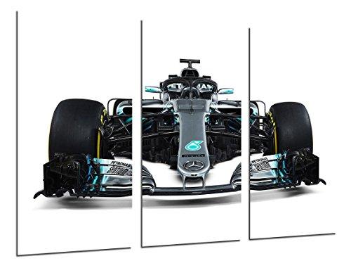 Wandbild - Formel 1 Auto, Mercedes F1 W09, Mercedes F1 2018, Lewis Hamilton, Valtteri Bottas, 97 x 62 cm, Holzdruck - XXL Format - Kunstdruck, ref.27106