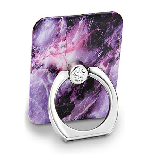 Velvet Caviar Cell Phone Ring Holder - Finger Ring & Stand - Improves Phone Grip Compatible with iPhone, Galaxy and Most Cases (Except Silicone/Leather) - Purple Marble