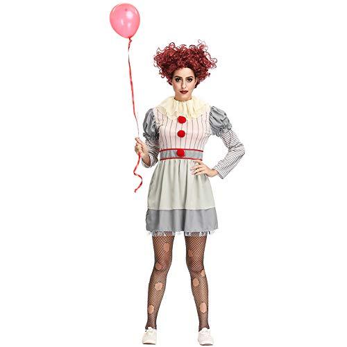 Peahop Disfraz de Payaso de Halloween, Vestido de Disfraz de Halloween de Payaso Espeluznante para Mujer Vestido Informal de Halloween Divertido