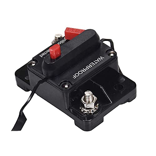 CareMont Disyuntor para AutomóVil, Barco, Audio EstéReo, Espoleta, 30-300 Amperios, Reinicio Manual, Disyuntor, Enchufe para Espoleta EstéReo para AutomóVil (50A)