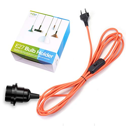 Portalámparas E27 con cable e interruptor, casquillo E27 vintage con cable de tela naranja de 4,5 m para lámpara de pie, lámpara de araña, PEBA