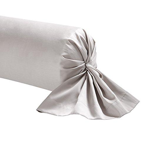 Essix - Taie de traversin Triumph Line Satin de coton Galet 43 x 230 cm