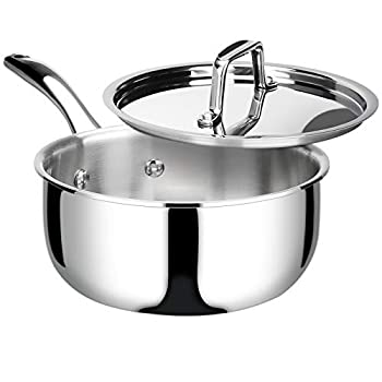 Duxtop Whole-Clad Tri-Ply Stainless Steel Saucepan with Lid 3 Quart Kitchen Induction Cookware