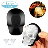 Large 3D Skull Ice Mold Silicone Skull Ice Cube Molds Trays with Funnels for Big Mouth Cup Durable Black Skull Ice Maker with Whiskey, Bourbon, Cocktails, Beer, for Parties (2 PCS (New))
