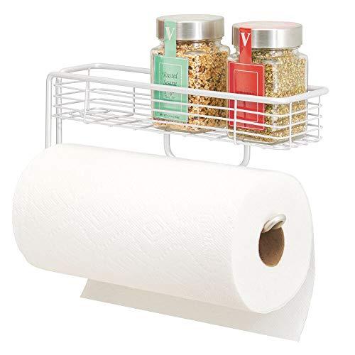 mDesign Küchenrollenhalter – hochwertiger Papierrollenhalter mit integriertem Gewürzregal aus Metall – praktischer Küchenhelfer – weiß
