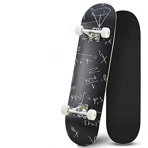 Lililili 31.5 Zoll Komplettes Skateboard - 7 Schicht-Kanadisches Ahorn-Holz-Doppelkick-Konkave Skateboards, Tricks Skate-Brett Für Anfänger Und Pro,C,31.5Inch